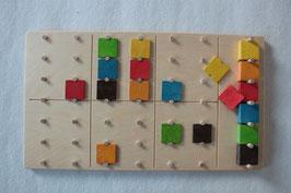 Denkspiel Sudoku mit 6 Farben aus farbigen Holz