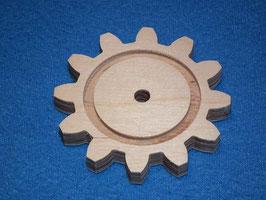 Holzzahnrad 12 Zähne aus 9mm Birkensperrholz