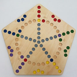 Spielbrett Quer durch 5-eckig ein Rausschmeisserspiel für 5 Spieler aus Holz