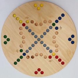 """Holzspielbrett """"Quer durch 4"""" in runder Form Rausschmeisser Spiel für 4 Spieler"""