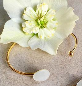 Bracelet Jonc Or Nacre ronde