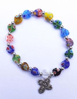 Bracelet grains Murano multicolores en forme de cœur