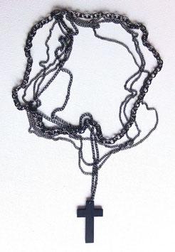 Collier, 5 chaines, noir argenté, croix noire
