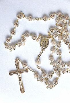 Chapelet Vierge Marie, croix dorée sur chaque grain