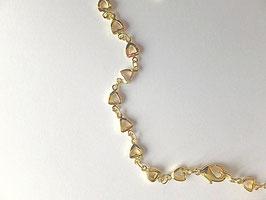 Chaine plaquée or, maille en cœurs ajourés