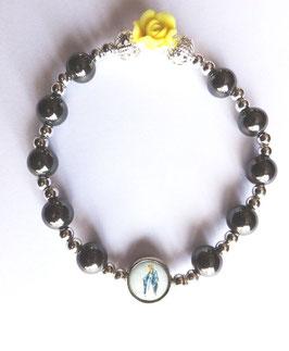 Bracelet hématite rose Sainte Thérèse et médaille Vierge Marie
