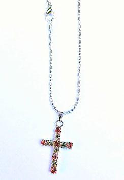 Pendentif, jolie croix discrète, avec strass rose