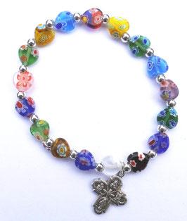 Bracelet cœurs multicolores Murano