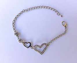 Bracelet strass et brillant, 2 coeurs