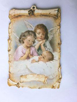Cadre deux anges protecteurs et bébé