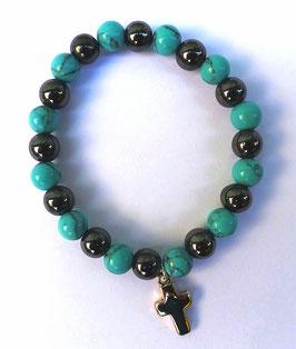 Bracelet hématite et pierre turquoise