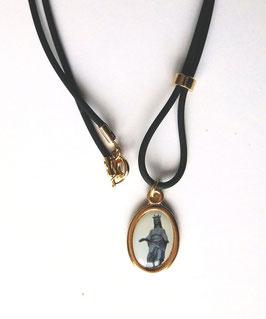 Pendentif médaille Vierge Noire, tour doré