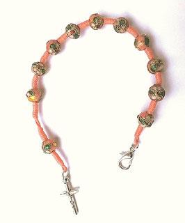 Fin bracelet perles cloisonnées, dizainier vintage
