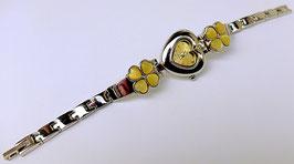 Jolie montre cœur et fleurs jaunes