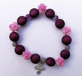 Bracelet, roses mauves de Ste Thérèse