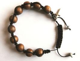 Bracelet Shamballa, 10 perles en bois sur corde noire