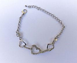 Bracelet coeur strass et 2 petits coeurs