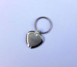Le porte clés, amitié ou amour sincère, coeur métal 2 tons