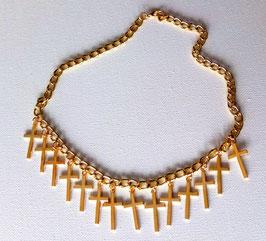 Collier tour de cou 14 croix dorées