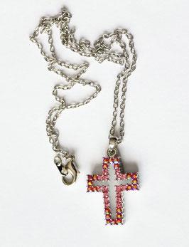 Jolie croix strass à reflets roses, rouges et jaunes