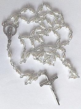 Chapelet blanc lumineux, Sainte Vierge Marie, en nacre