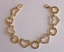 Bracelet plaqué or et strass discret