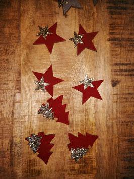 Tafelschmuck, Tischschmuck-Weihnachten bourdeaux - Bäumchen oder Sterne