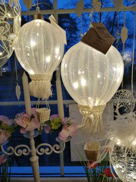 beleuchteter Dekoballon aus Glas weiß (große Variante)