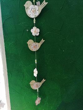 Vogelkette zum Hängen aus Holz grün- weiß