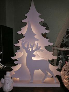 LED-Fensterleuchter, Winterleuchter, Weihnachtsleuchter Tanne mit Hirsch, Holz weiß - große Variante