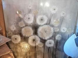 "Bild ""Blumen"" Leinwand Öl/Metall/Sisal silber/weiß/mehrere Stufen Grau"