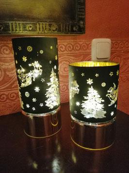 Weihnachtslampe/Winterlampe schwarz-gold - hier im Bild rechts die kleine Variante