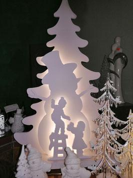 LED-Fensterleuchter, Winterleuchter, Weihnachtsleuchter Tanne mit Schneemann und Kinder - hier die große Variante