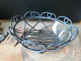 rustikale Seifenschale in Metall mit Glaseinsatz