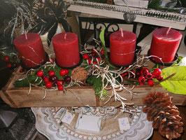 künstliches Weihnachtsgesteck/Weihnachtschale Zapfen in grün/rot