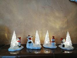 Schneemänner mit Acryltanne und LED-Licht (4 verschiedene Varianten)