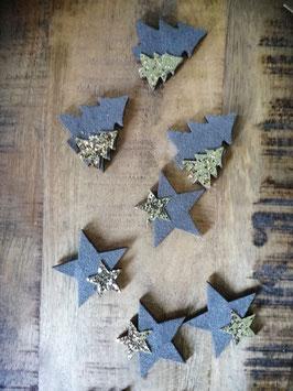 Tafelschmuck, Tischschmuck-Weihnachten grau - Bäumchen oder Sterne
