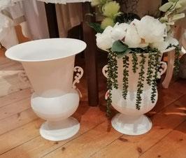 Topf/Vase Metall weiß