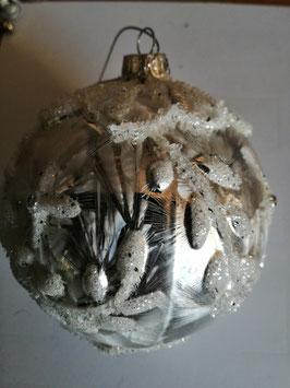 Baumbehang/Hänger aus Glas silber/weiß, Durchmesser 10 cm
