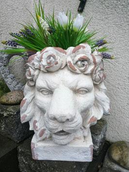 Löwen-Pflanzkopf weiß-antik für den Innen-und Außenbereich