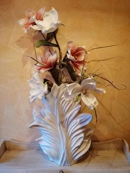 Vase Blüte/Blatt cremeweiß mattiert