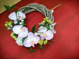 Türkranz, Fensterkranz, Frühlings- und Sommerkranz Orchidee creme/lila auf Rattanbasis