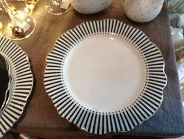 Platzteller Porzellan grau/weiß mit Gold verziert
