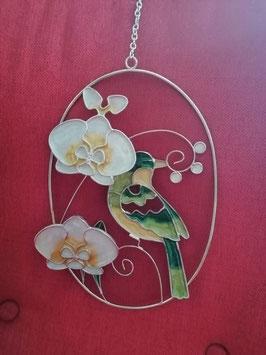 Fensterbild/Fensterdeko Orchidee mit Vogel