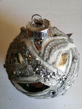 Baumbehang/Glaskugel silber/weiß, Durchmesser 8 cm