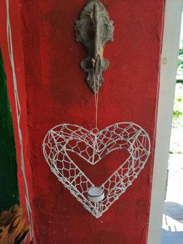 3 D-Herz zum Hängen mit Teelicht - shabbylook