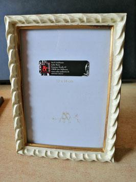 Bilderrahmen 13 x 18 cm in vanille mit mattem Gold