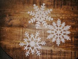 3er Set Schneesterne zum Hängen aus Holz
