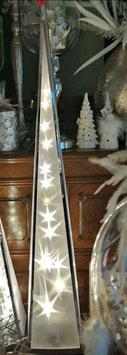 - Weihnachtspyramide, Pyramidenlampe aus Edelstahl und Folie mit beweglichen Sternen