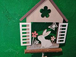 Fensterhänger/Fensterdeko  - geöffnetes Fester mit Fensterladen Ostern/Frühling